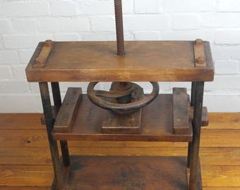 Early 20th century book press mechanism machine wooden cast iron decor interior design ends