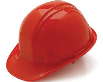 Red Hard Hat Pyramex HP14120 4-Point With Ratchet Suspension Safety Cap Style