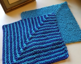 Knitted cotton washcloths/dishcloths, set of two, one striped & one solid, turquoise/blue