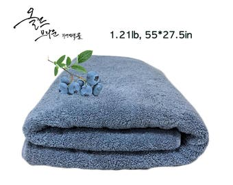 """Natural dyed bath towel with  natural """"Blueberry"""""""