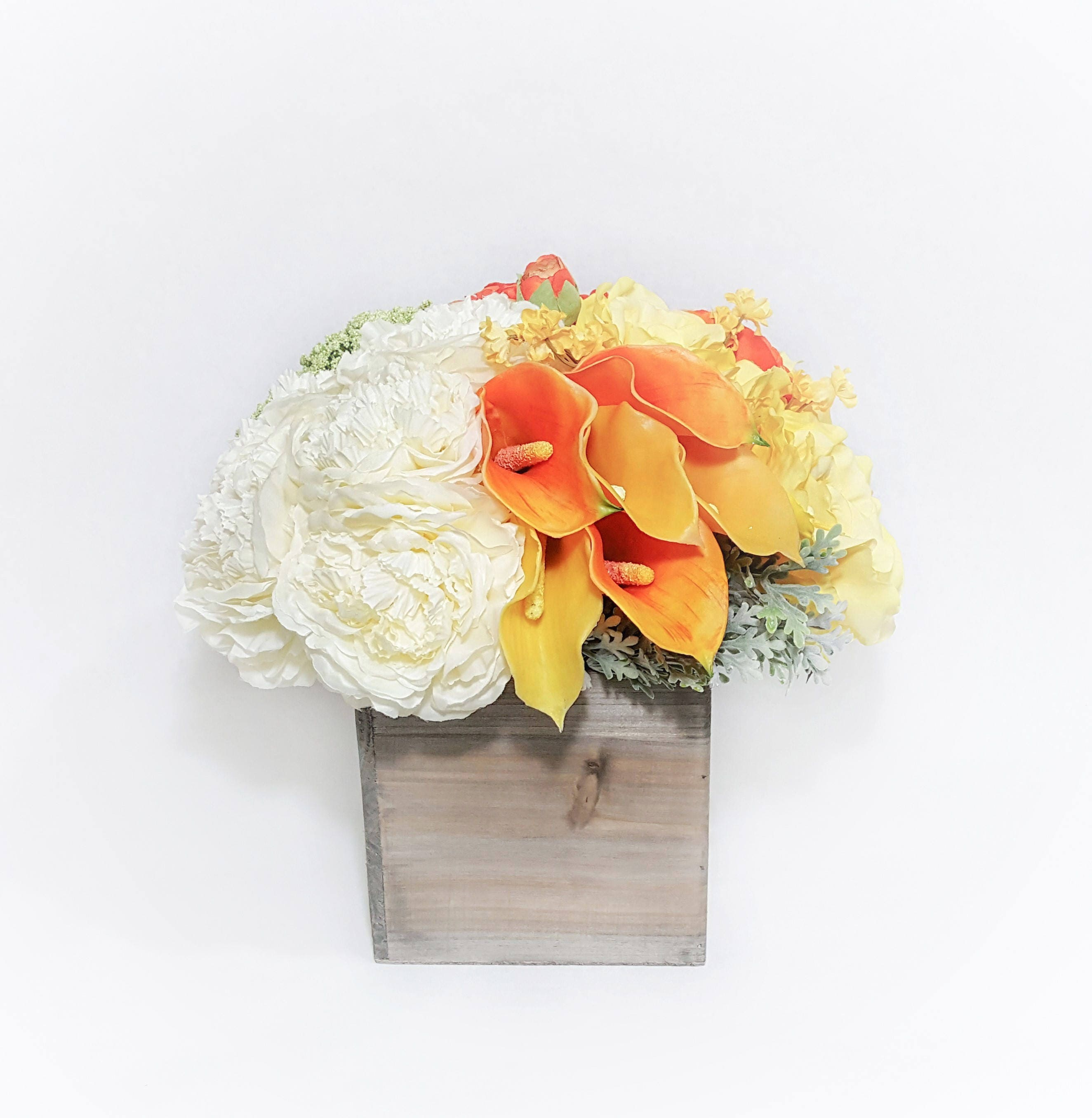 Spring Summer flower arrangement. 5 color Silk flower arrangement ...