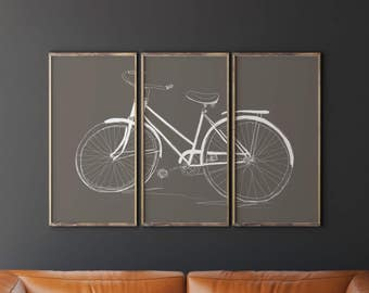 Bicycle Art Wall Triptych Taupe Living Room