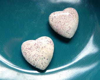 2 Stone Hearts - Carved Stone Beads -  Matching Pair