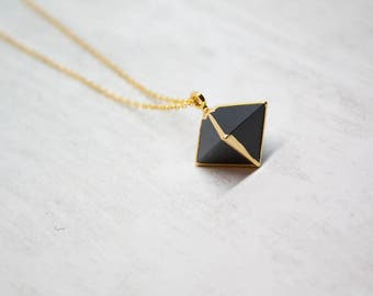 Chain gemstone agate Black Yellow Gold