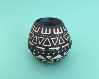 Hand Carved Vase - Black with Geometric Pattern