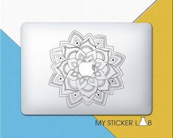 Mandala MacBook Decal Mandala MacBook Sticker Rose Mandala Decal Flower Mandala Pattern Sticker Tribal Ethnic Art Artwork Vinyl cmac057