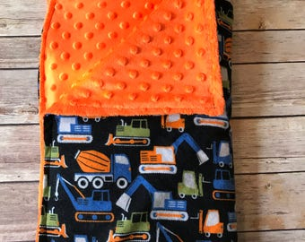 Boys construction vehicle blanket