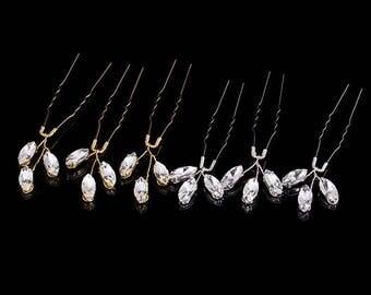 3pcs SET Beautiful Wedding Shiny Crystals Gold Colour Bridal Hair Pins