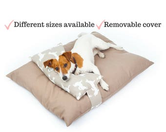 Dog bed with pillow, Removable cover, Dog Mat, Cute Dog Pad, Dog Print, Puppy bed, Cute Dog Bed