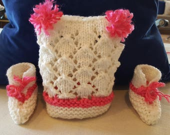 Infant Pink and White Pom Pom Hat and Booties