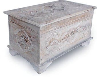 Shabby chic floral design chest, trunk, ottoman with Lotus carving