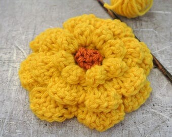 Large Crochet Flower Yellow with Orange Center