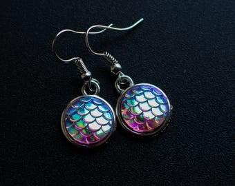 Mermaid scale earrings / silver mermaid earrings / ocean earrings / dangle earrings / gifts for her / dragon scale / mermaid tale