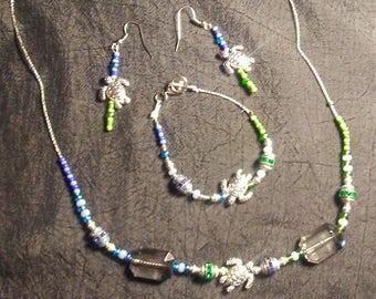 Handmade beaded necklace, bracelet & earring set