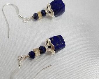 Blue Lapis Earrings, Citrine Earrings, Lapis Earrings, Sterling Silver Bead Cap, Sapphire Blue Earrings, Sapphire Earrings, Gift for Her