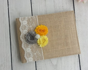 Burlap guest book/album with fabric flowers