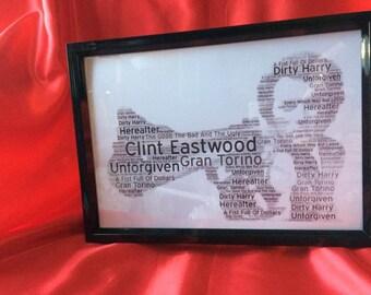 Clint Eastwood framed word art