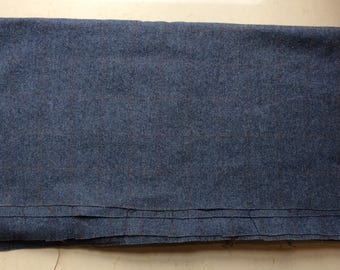 Mid Blue Herring Bone Wollen Cloth With A Rust Coloured Rectangular Weave Suitable For Suit or Coat