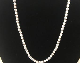 "Vintage Sterling Silver Beaded Strand Necklace Signed ""Sterling"" 15 1/2"""
