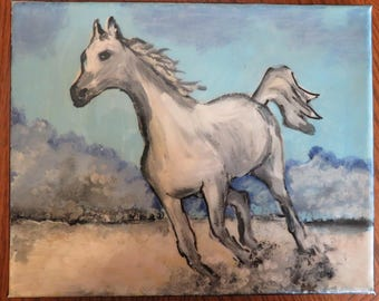Original acrylic painting on 6 x 10 canvas /white horse /