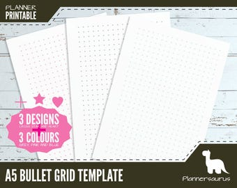 A5 Dot grid planner paper printable | bullet journal | BuJo | A5 planner | grid template | grid paper instant download | planner grid cross