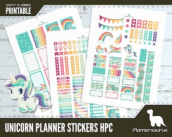 Unicorn planner sticker printable | rainbow unicorn instant download | Happy Planner Classic printables | rainbow and unicorn weekly planner