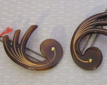 1930s Paris celluloid signed AUGUSTE BONAZ BARRETTES pair torty gold inlay French art deco swirls