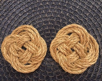 Rope Knot Coasters - Natural - Set of 4!