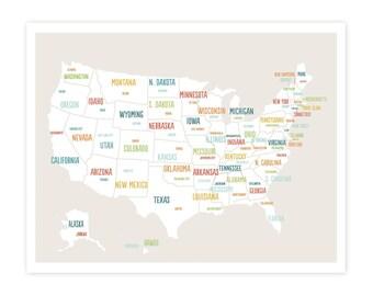 Us Travel Map Etsy - White map of us