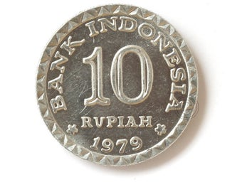 One Vintage Indonesian Coins 10 Rupiah 1979, Indonesian old coin money, Ten Rupiah, Indonesian old coin 10 rupiah