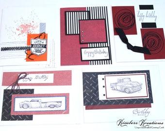 Set of 5 Handmade BIRTHDAY GREETING CARDS - Masculine - Stampin Up