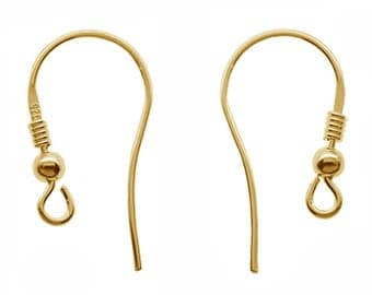 Gold Plated Sterling Silver Earring Hooks Earwires (BOG6)