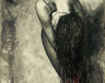 ART PRINT  from Original artwork '' Soul Screaming''/ Black & White/ butterfly /mixed media
