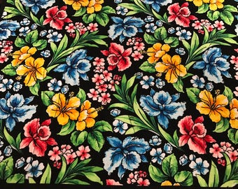 Bright Tropical Flowers on a Deep Rich Black Background Placemats, Set of 6