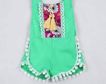 Mint green back less baby girl romper