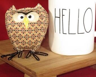 Stuffed owl, fabric birds, fabric owl, cloth owl, stuffed animal, collectible, stuffed owl. graduation gift, owl