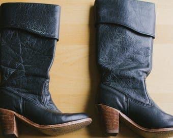 Vintage Black Leather Heeled Boots