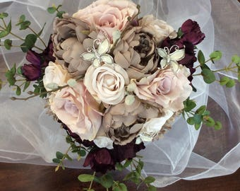 Traditional modern brides artificial flower bouquet in pale pink, brown, ivory with butterfly detail