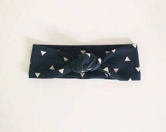 Navy Geometric Top Knot Headband/knotted headband/baby headband/newborn headband/toddler headband/kids headband/adult headband