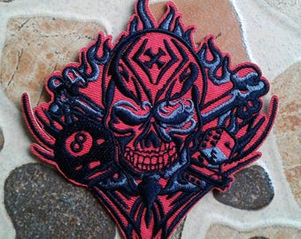 Red Cross Skull Gambler Patch.