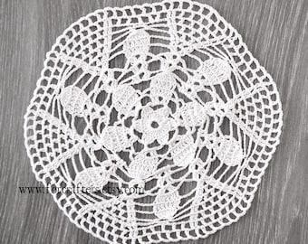 White crochet doily lace cotton handmade doily vintage doily 8.5 Inches round doily, doilies, white doily