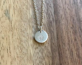 Paw Print Hand Stamped Necklace, Sterling Silver, Silver, Charm Necklace, Paw Print Necklace