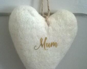 Felted heart, wool hearts, heart decoration, felt heart ornament, Mothers day, mum, hanging decoration, hanfging hearts, custom, home decor