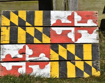 Rustic Maryland Flag Pallet Wood Wall Hanging