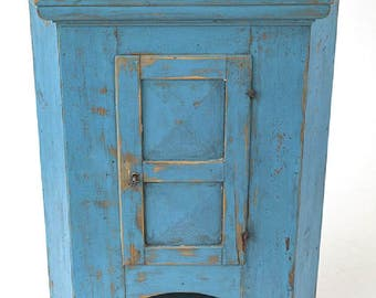 Early Corner Cupboard in old blue paint