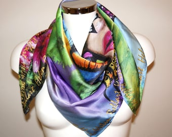 Butterfly silk scarf 90x90 or 110x110