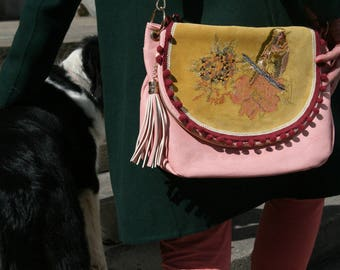 Bird pink yellow embroidered satchel leather flap vintage chic embroidery