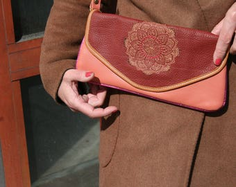 Brodee Mandala ethnic flower rosette leather leather pouch