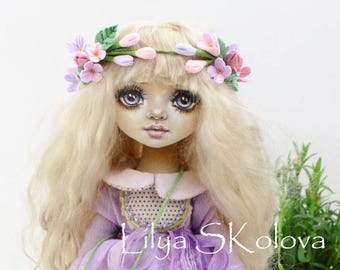 Textile doll angel textile doll and interior doll fabric doll portrait doll cloth textile doll текстильная кукла selfy doll portrait doll