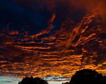 Cloudscape Photography Prints, Clouds at Sunset, Sky Afire